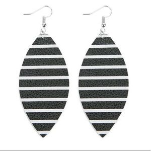 Black and White Faux Leather Drop Earrings